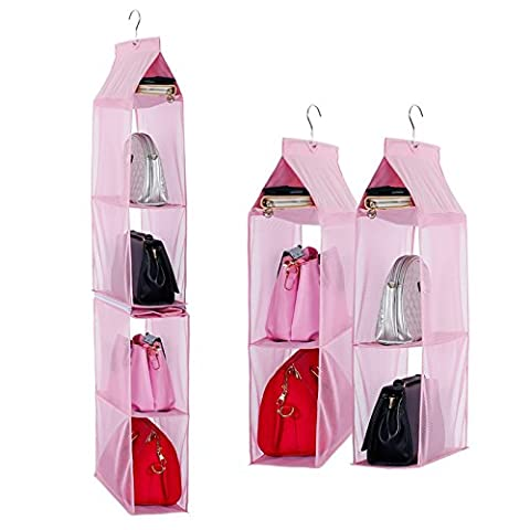 Detachable 6 Compartment Organizer Pouch Hanging Handbag Organizer Clear Purse Bag Collection Storage Holder Wardrobe Closet Space Saving Organizers System For Living Room Bedroom Home Use