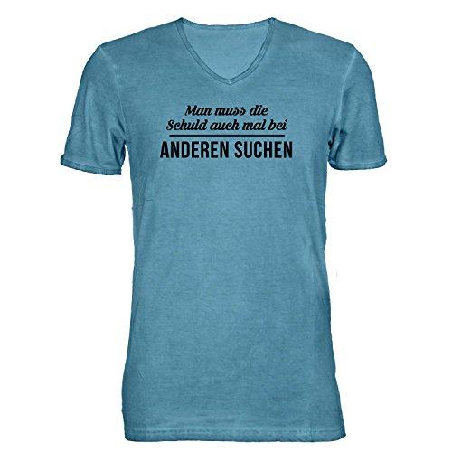 Herren T-Shirt V-Ausschnitt - Man muss die Schuld auch mal bei anderen Suchen - Spruch, Hellblau, L