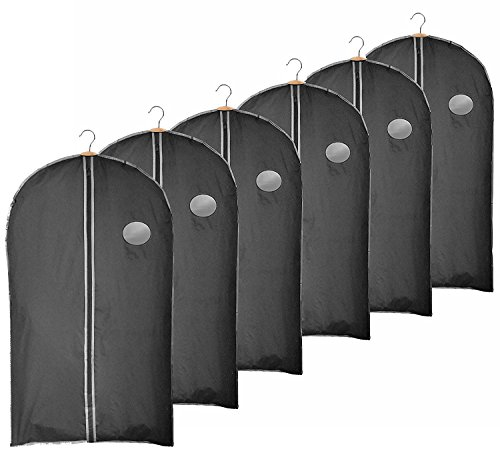 Clay Roberts Suit Cover Garment Bags, Pack of 6, Shirt Covers, Black, Clothes Bags, Shower Proof with Large Zip Opening