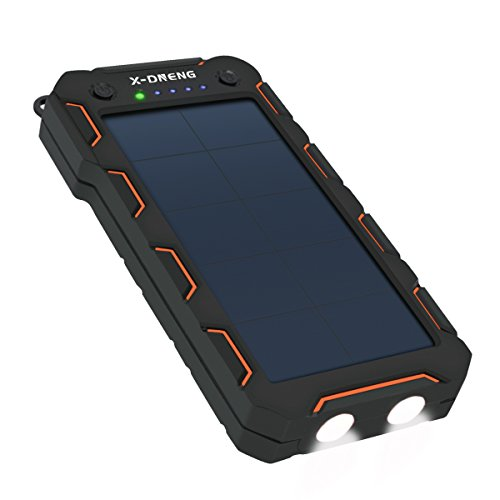 Solar Ladegerät, X-DNENG Solar Power Bank 15000mAh Externer Akku Backup-Akku mit High-Effizienz SunPower Solar Panel Dual USB Ports 2 LED Lichter für iPhone6 / 6s / 7 / 7Plus, Samsung Galaxy S8, Tablets, Kameras und alle USB-Geräte (Schwarz + Orange)