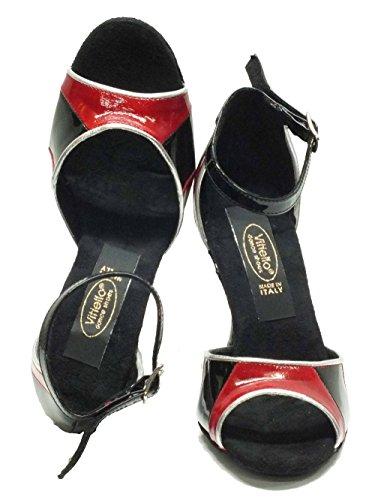Vitiello Dance Shoes  406 vernice rosso nero forma 440/90, Damen Tanzschuhe Rot Rosso Vernice Rosso e Nero