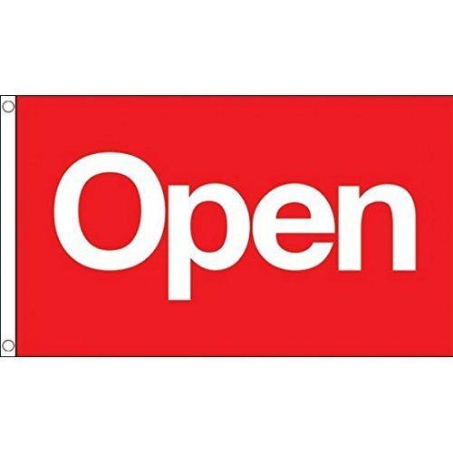 0,9x 0,6m (90x 60cm) aperto negozio Messaggio Rosso 100% materiale poliestere Bandiera Banner Ideale Per Club Pub Scuola Festival Business Decorazione Feste