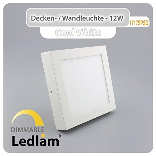 LED Deckenleuchte weiß quadratisch 17x17cm 12Watt (80Watt) 960lm 6000K kaltweiß dimmbar m LED Dimmer