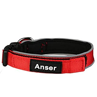 Anser D01 Pet Collars for Dogs Cat Collar 3M Reflective Nylon Neoprene Padded Dog Collar (M:3/4