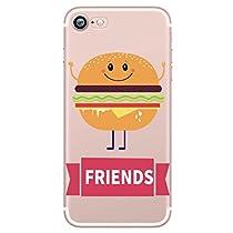 Incendemme Coque Housse / Etui Téléphone pour iPhone Couple Amoureux Amis Best Friend Serie Coque Couple en Silicone TPU Souple Coque Humburger Alimentation Pizza Integral Confortable (iPhone 7, Burger-1)