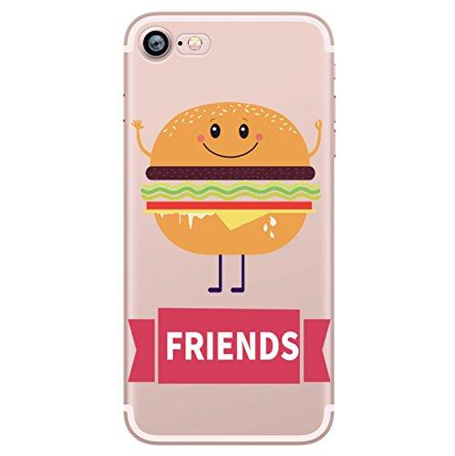 Incendemme Coque Housse / Etui Téléphone pour iPhone Couple Amoureux Amis Best Friend Serie Coque Couple en Silicone TPU Souple Coque Humburger Alimentation Pizza Integral Confortable (iPhone 7, Burger-1), coques iphone