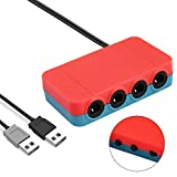 OMKUY Gamecube Controller Adapter für Nintendo - Micro USB Aufladen, CameCube/Wii/NES/SNES Controller Mini Adapter funktioniert mit Swtich Konsole und PC Rot Red GameCube Adapter