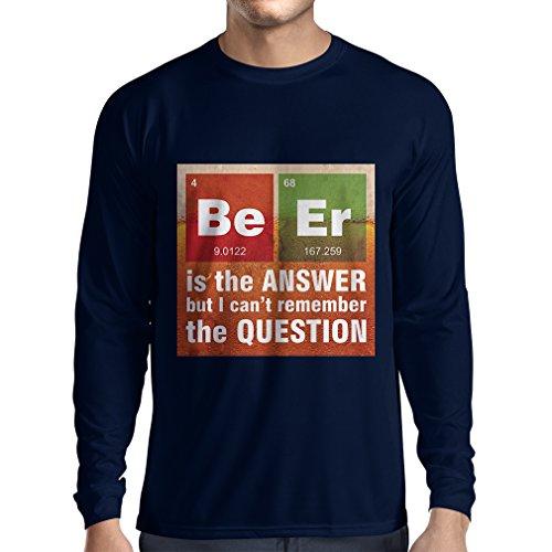 N4520L T-shirt à manches longues La bière est la réponse (Large Bleu Multicolore)