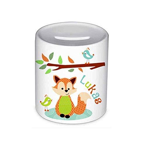 Spardose, Fuchs, mit Namen, für Kinder, Geschenk, Kinderspardose, Geschenk Taufe, Sparschwein, Geldgeschenke, (Sparschwein Kleine Jungen)