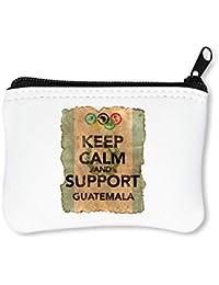 Vintage Keep Calm Support Guatemala Flag Background Billetera con Cremallera Monedero Caratera