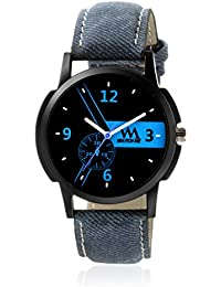 Watch Me Black Dial Blue Leather Strap Watch For Boys WMC-004