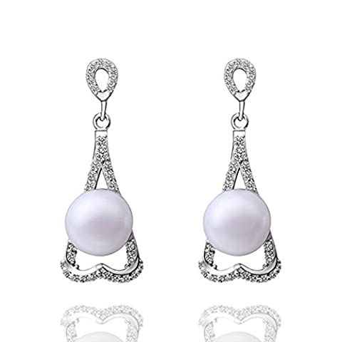 Gnzoe Jewelry 18K Silver Plated Drop Earrings Round Pearl Heart Crystal Eco Friendly
