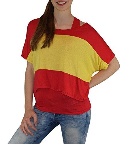 S&LU Super Angesagtes 2-Teiliges Fan - Flag - Top Deutschland Italien Frankreich England Spanien USA Größe 34-40 (XS-L) (One Size, Spanien-Rot)