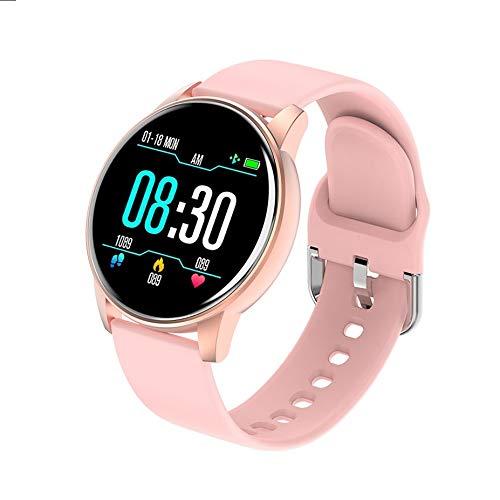 JINLI Neue Art und Weise vorzügliches Geschenk Männer Frauen Smart-Armband LED-Farben-Voll Touch Screen Mode Sport Smart Watch Herzfrequenz Blutdruck Fitness-Armband (Color : Pink)
