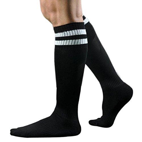 Kolylong 1 Paar Männer Herren Fußball Gestreift hohe Socken Eishockey (Dunkelblau) (Dunkelblau-fußball-socken)