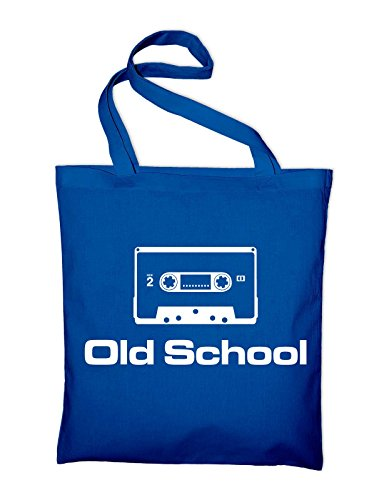Old School Kassette Tape 80er Jutebeutel, Beutel, Stoffbeutel, Baumwolltasche, gelb Royalblau