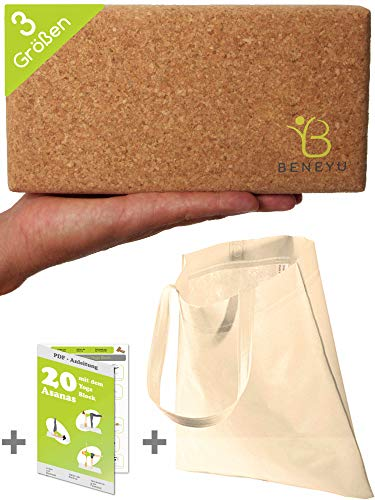 beneyu ® Der Nachhaltigste Yoga Block Kork (3 Größen - 1er & 2er) +recycelte Tasche +Übungen - (schmal - 22,5 x 12 x 6,5 cm)