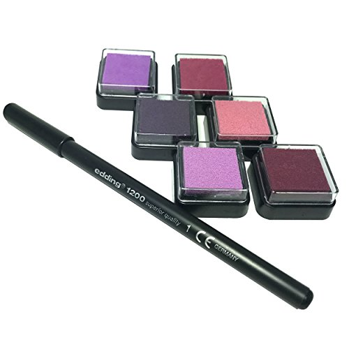 Stempelkissen (6er Set) ROSA mit Stift für Fingerabdrücke, zum Basteln und zum kreativen Gestalten (6 Farben (rosa))