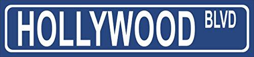 Schild - Hollywood Blvd - American Street Sign Amerikanisches Straßenschild - 52x11cm - Bohrlöcher Aufkleber Hartschaum Aluverbund -S00346-001-B
