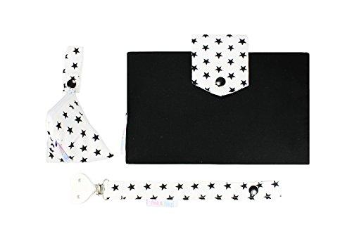 filia & filius set bebé de tres piezas con bolsa de pañales bolsa de chupete cinta para chupete (negra estrellas)