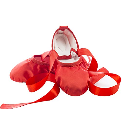 APTRO Ballet Shoes Split Sole with Satin Gymnastics Dance Shoes Flats for Girls Adults with Ribbons