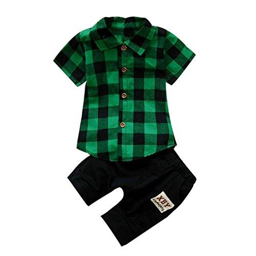 mer Kleidung T-Shirt Tops Hosen Outfits Kleidung Set Neugeborenen Sommer Boy Kinder Plaid T Shirt Tops + Shorts Hosen Outfits Set LMMVP (12 Monate-3Jahr) (Grün, 110CM (3Jahre)) (Spiderman Anzug Alle)
