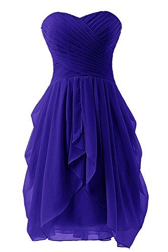 Bbonlinedress Robe de demoiselle d'honneur en mousseline longueur genou Bleu Saphir