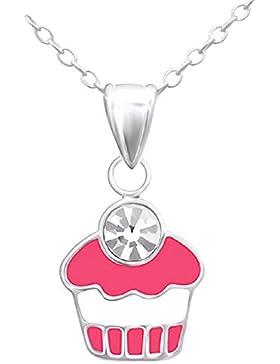 Laimons Kids Kinder-Anhänger mit Kette Muffin Weiß, Pink Glitzer Sterling Silber 925
