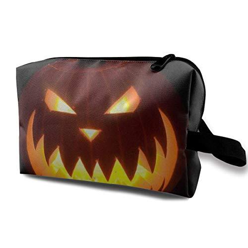 With Wristlet Cosmetic Bags Halloween Pumpkin Travel Portable Makeup Bag Zipper Wallet Hangbag