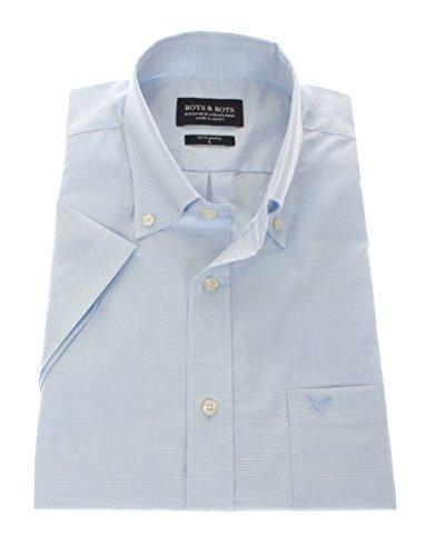 162014 - Bots & Bots - Chemise Homme - Exclusive Collection - Manches Courtes - 85% Coton / 12% Lin - Button Down - Normal Fit Bleu Clair
