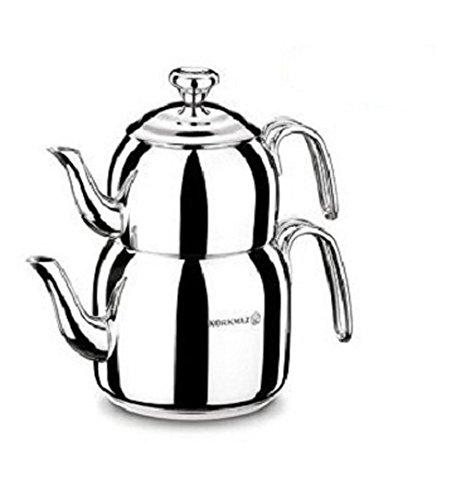 Korkmaz Droppa Midi Tea Pot Set/Caydanlik Takimi Teekocher, Edelstahl, Mehrfarbig 48 x 48 x 48 cm, 4-Einheiten