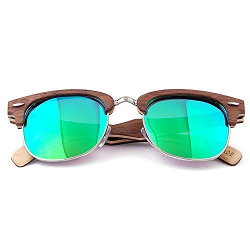 SCJ Herren Outdoor Freizeit Classic Rivet Dekoration Semi-Rimless Herren Polarized Wooden Sonnenbrille Handmade Sonnenbrille UV-Schutz Driving Sonnenbrille Beach Sonnenbrille (Farbe: Grün)