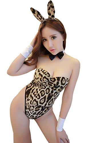 Uniform Bunny Kostüm Häschen-Mädchen Kaninchen Hasenkostüm Hasen bunny kostum Lingerie Dessous Kostüm Erotisch Uniform Lolita COSPLAY Reizvolle Overall (2061-Leopard) (Sexy Bunny Passt)