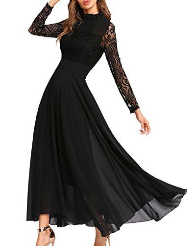 Aofur Vestito taglia grossa da Swing da donna in pizzo da donna lungo in pizzo in chiffon lungo prom di (EU 38 40/ Etichetta M, Nero)