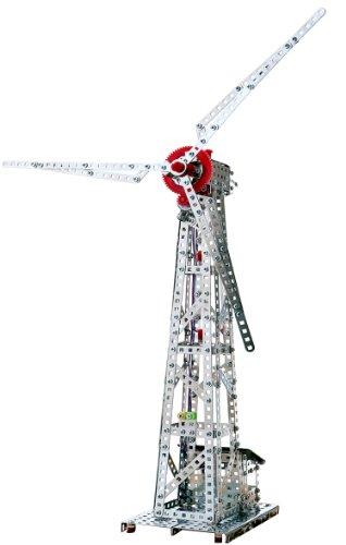 Tronico 10131 - Metallbaukasten Windkraftanlage mit Solarzellenantrieb, Profi Serie, metallic, 626 Teile