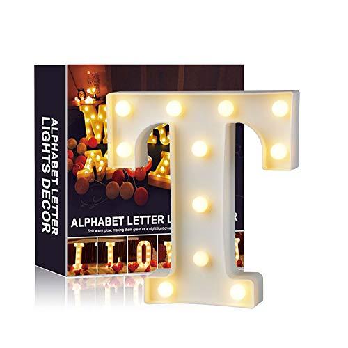 Ciojio A-Z Alphabet Licht Weiß LED Nachtlicht Briefe Kunststoff Lampen Stehen Hängend Beleuchtung zum Hochzeit Halloween Weihnachten Party Zuhause Dekoration (T)