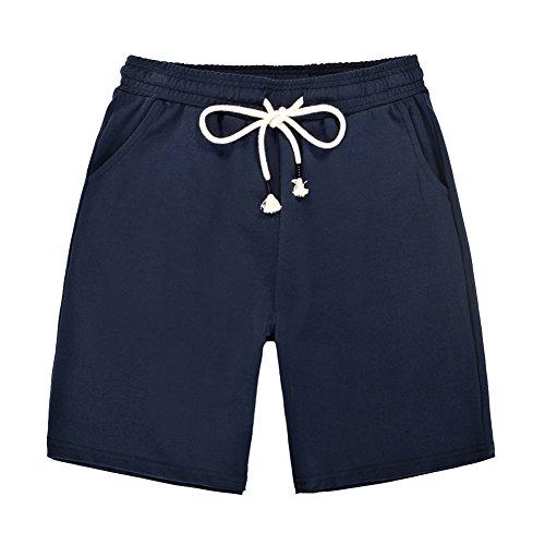 Damen Shorts Kurze Elastische Taille Stoffhose Sport Freizeit Lose Elegant Pants Saphirblau