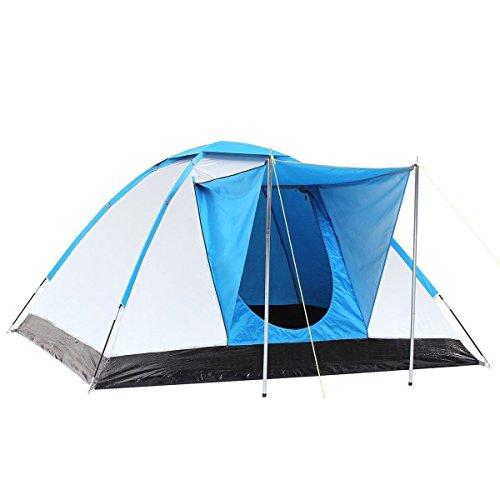 Semoo tenda da campeggio a igloo 3 persone, impermeabile e protezione raggi uv, ideale per famiglie, rivestita in fibra, color argento