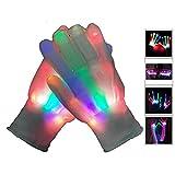 Buwico® 1 Pair LED Light-Up Rainbow Gloves Colorful Flashing Light-emitting Halloween Christmas Party Gloves