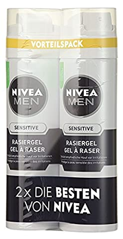 NIVEA Men, 2er Pack Rasiergel für Männer, 2 x 200 ml Spender, Sensitive, 0% Alkohol