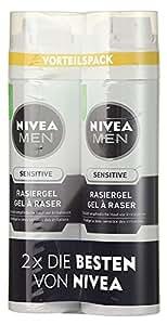 Nivea Men Sensitive Rasiergel für Männer (0% Alkohol), 2er Pack (2x 200 ml)