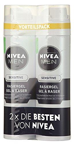 Nivea Men Sensitive Rasiergel, 0% Alkohol, 2er Pack (2 x 200 ml)