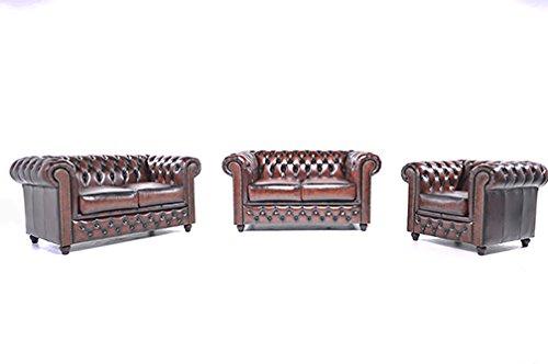 Original Chesterfield Sofas und Sessel – 1 / 2 / 2 Sitzer – Vollständig Handgewaschenes Leder – Antik Braun