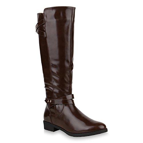 Damen Reiterstiefel Lack Leder-Optik Stiefel Nieten Boots Schuhe 153361 Braun 39 | Flandell®