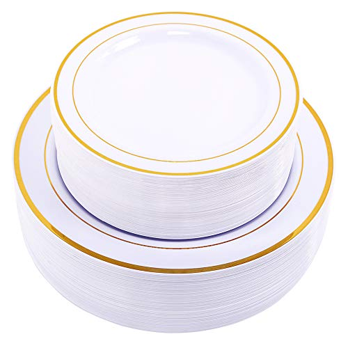 60 x schwere, weiße Plastikteller mit Goldrand, 30 x 26 cm Teller, 30 x 19 cm Salatteller, plastik, White/Gold Rim, 30 dinner plates+30 salad plates Gold Trim Dessert