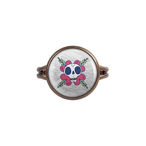 Mylery Ring mit Motiv Totenkopf Schädel Mädchen Mexiko bronze (The Dead Walking Kostüme Zombie Mädchen Kleines)