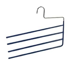 Wenko 10221111100 Cintre à pantalons Baggy 4 pour 4 pantalons, Revêtement Antidérapant, Métal, Plastique, 33 cm, Bleu Foncé