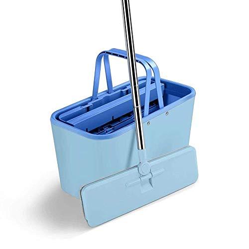 Flat Scraper Double Barrel Handfreier Lazy Household One-deep Dry Wet Mehrzweck-Mopp für Zwei Verwendungszwecke Rosa, Dunkelgrün, Blau (Farbe : Dunkelgrün) (Blau) -