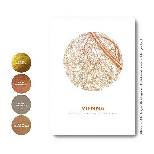 Stadt Wien Vienna Poster, 4 Metallic Farben 2 Größen