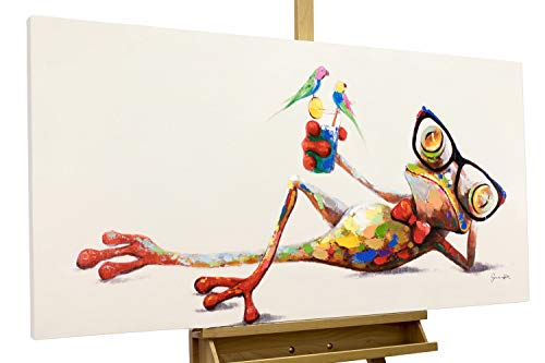 KunstLoft® Acryl Gemälde 'Grüner Charmeur' 120x60cm | original handgemalte Leinwand Bilder XXL | Frosch mit Brille Nerd | Wandbild Acrylbild Moderne Kunst einteilig mit Rahmen